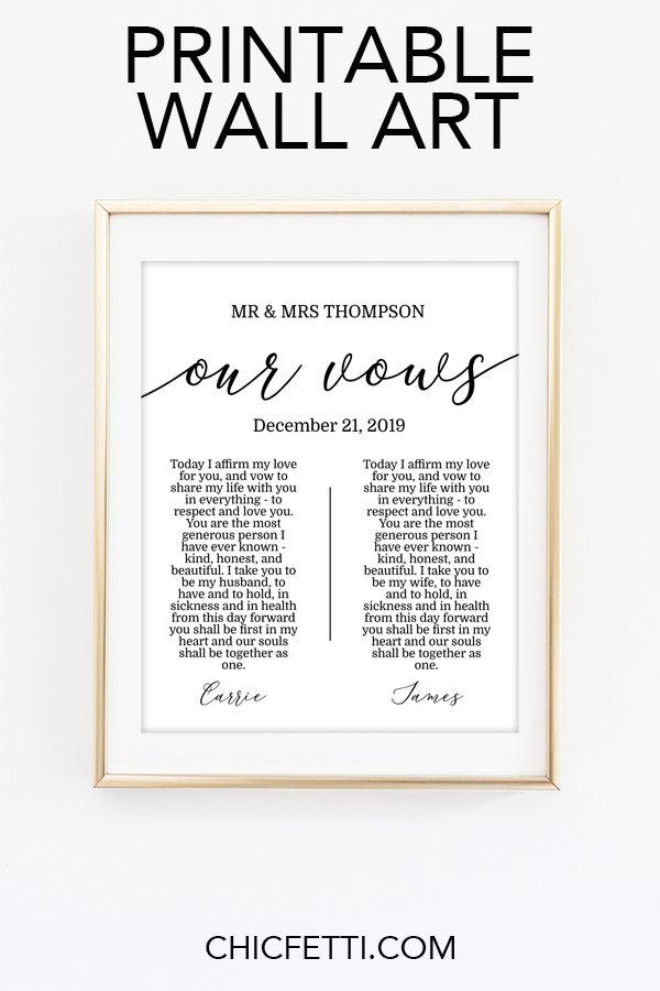 Wedding Vows Printable Art Wedding Vow Art Wedding Vows Wedding Vows Gift