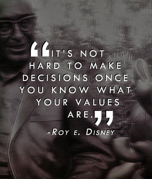 It's not hard to make decisions once you know what your values are. ~Roy E. Disney