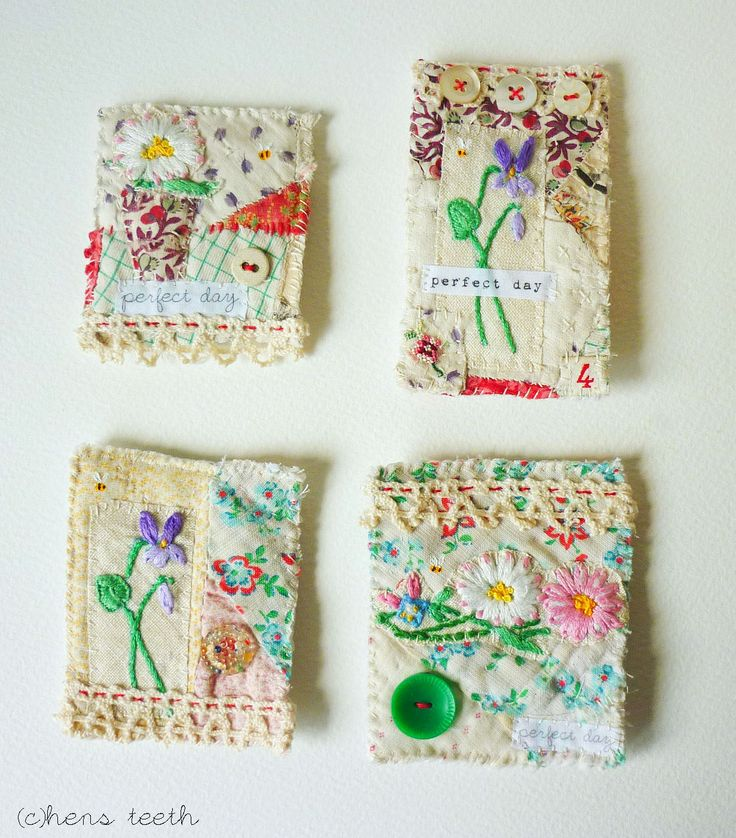 Brooches made from very pretty vintage textiles                                                                                                                                                                                 More