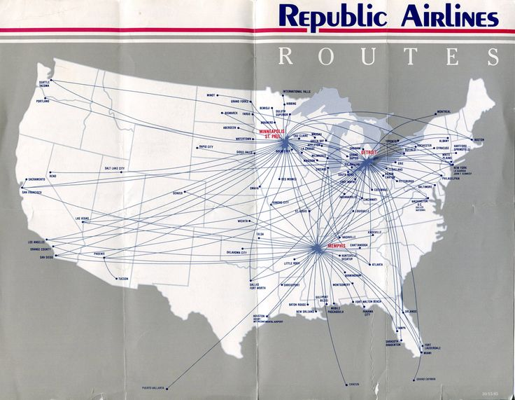 1986 - Republic Airlines Timetables, Route Maps, History, and ...