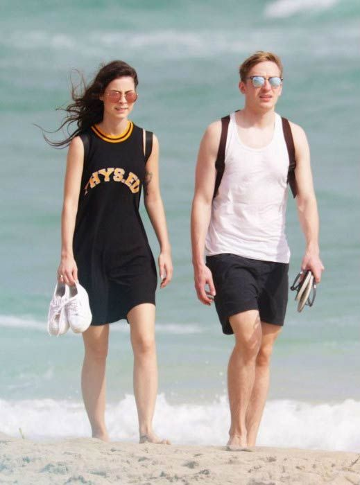 German singer, Lena Meyer-Landrut and Max K. von H at the Miami Beach in January 2016...