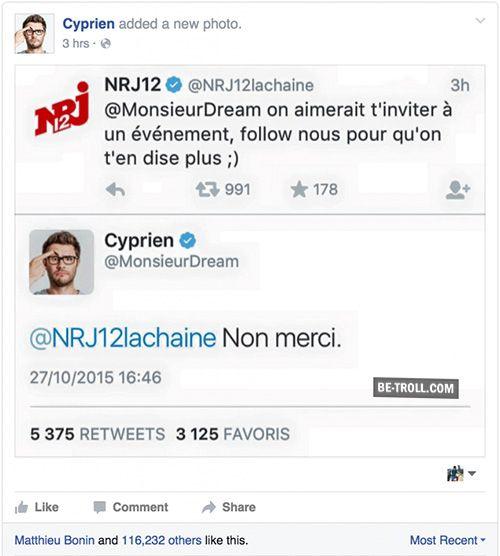 Cyprien clash NRJ12… | Be-troll