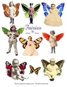 Download Digital Collage Sheet Vintage Children Fairies Altered Art Fairy No. 218
