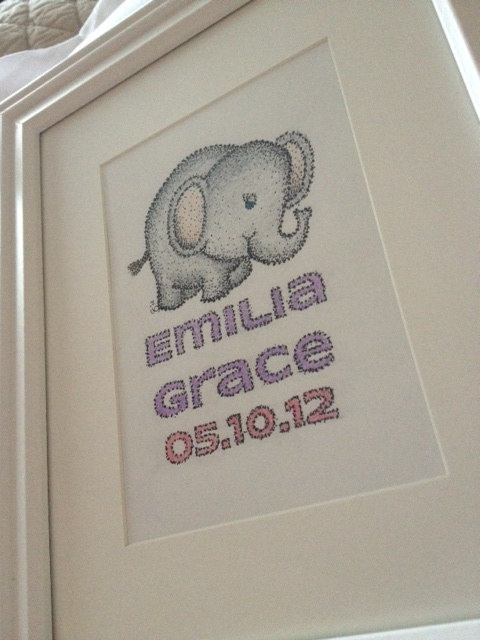 Baby Elephant Drawing with Customized Baby Name and by CaraCrafty, $30.00