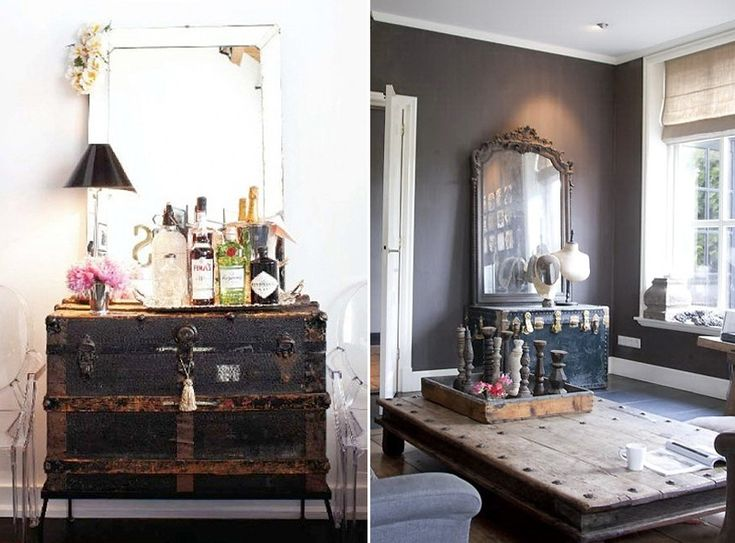DIY inspiration only: a coffee table with oversized nailhead trim (for lack of a better description).
