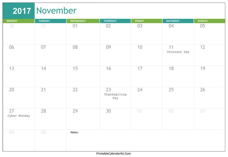 Free Editable November 2017 Calendar in Word, PDF formats. This calendar can easy to download and add your own events for Nov 2017.