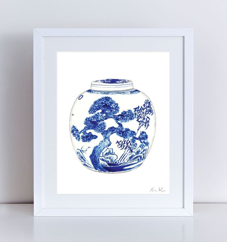 Blue and White China Ginger Jar Vase No. 9 Giclee Print of Watercolor 8 x 10, 11 x 14 inches Fine Art Poster Chinoiserie Chinese Antique Ming Landscape Evergreen Pines. Giclee print of watercolor painting of a blue and white melon ginger jar, in a blue landscape motif of Japanese evergreen, rocks, and bamboo. Add this magnificent pair to your Blue and White collection! Inspired by Chinese antique ceramics and porcelains, Carolyne Roehm design, tulips and tulipiere vases, Valentino's Delft...