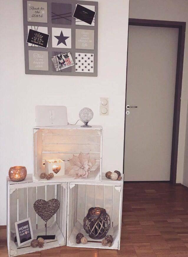 3 x weiße stabile Apfelkisten+Weinkisten+Holzkisten+Obstkisten in Möbel & Wohnen, Dekoration, Sonstige