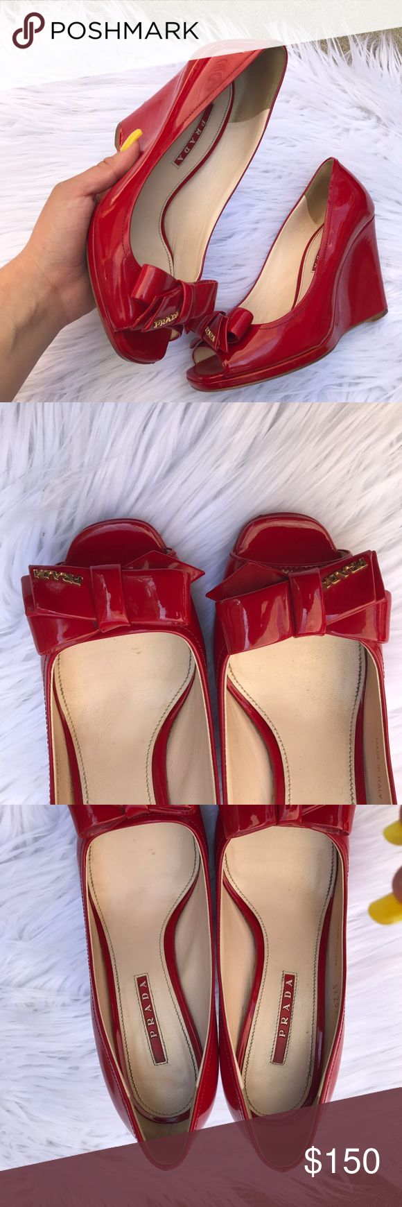 PRADA PATENT LEATHER RED WEDGES HEELS SHOES SZ 7 Beautiful patent leather Prada wedges 100% authentic Prada Shoes