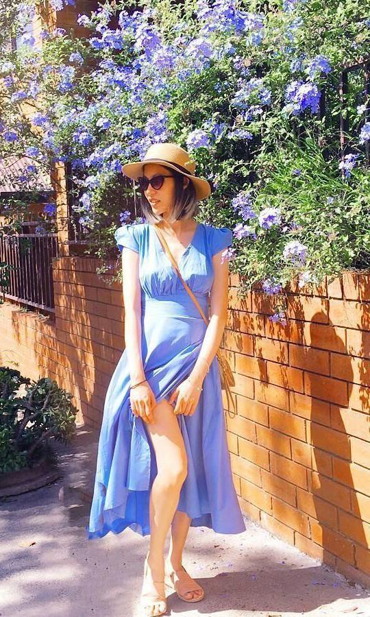 1d1df1a66dc Theia wrap maxi dress in sky blue in 2018