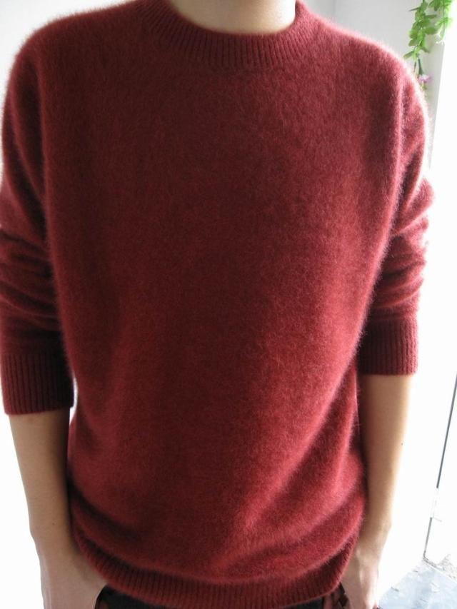 2015 de invierno del o cuello del color sólido ropa de los hombres suéter de cachemira de visón suéter grueso suéter prendas de vestir exteriores macho grande grande en Pullovers de Ropa y Accesorios en AliExpress.com | Alibaba Group