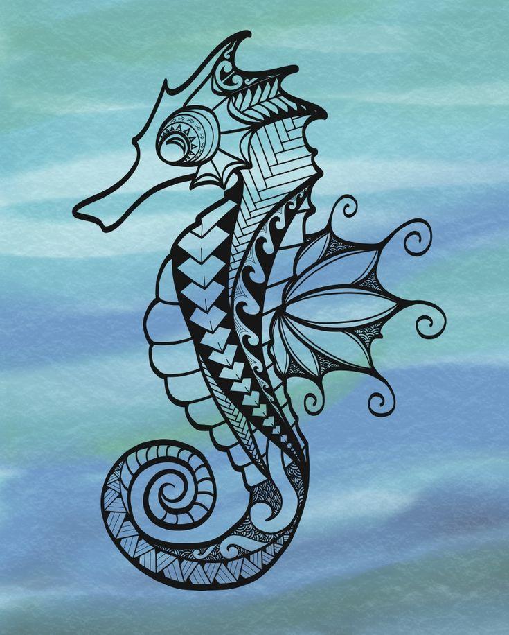 Нарисованные картинки морского конька