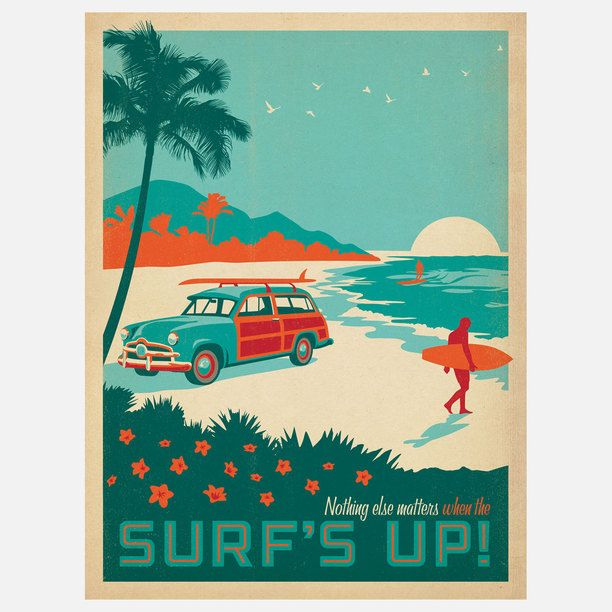 Surf's Up Print 18x24 art, digital print, multi