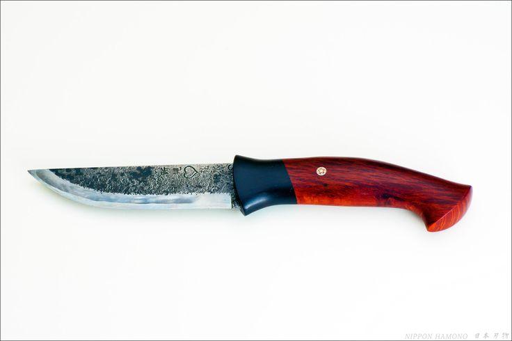 125mm Takeda hunting knife w/ stabilized sheoak burl and african blackwood handle. Scandinavian style meets Japanese blade.