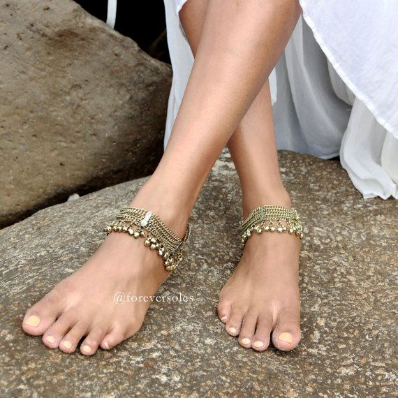 Antique, Gold or Silver anklet with gorgeous silver charms. Anklets sold separately! Style: 'Eastern Moon A1405'