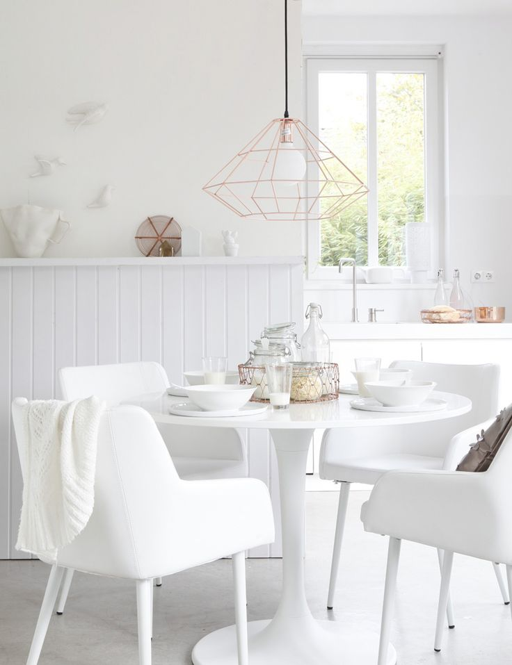 Dining Room White Decorating Ideas With Bulb Pendant Light And Arm Chairs Round Table
