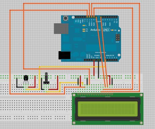 Tutorial de Arduino en el que se muestra en una pantalla LCD la temperatura de un sensor de temperatura TMP36 que hay en el momento actúal