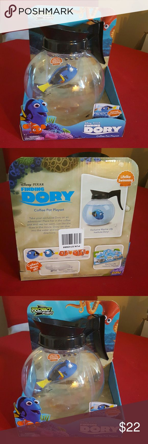 robo fish finding dory fish tank pot really cute this is a new item it's a cute coffee pot playset comes with a extra set of batteries fish swims around in plastic coffee pot it's water activated ages 4 and up please thanks for looking have a wonderful day & Other Stories Other