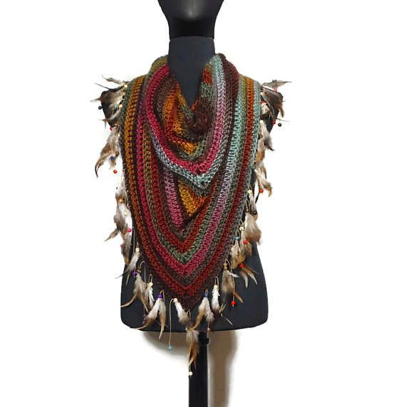 Yellow Pink Triangle Feather Scarf: Boho Scarf Shawl Kerchief