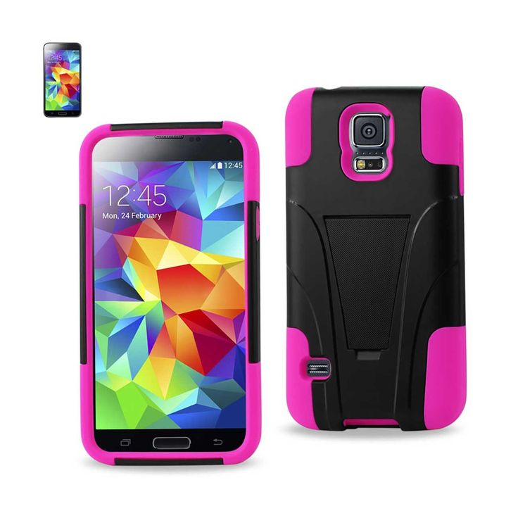 REIKO SAMSUNG GALAXY S5 CASE WITH KICKSTAND PINK BLACK | MaxStrata