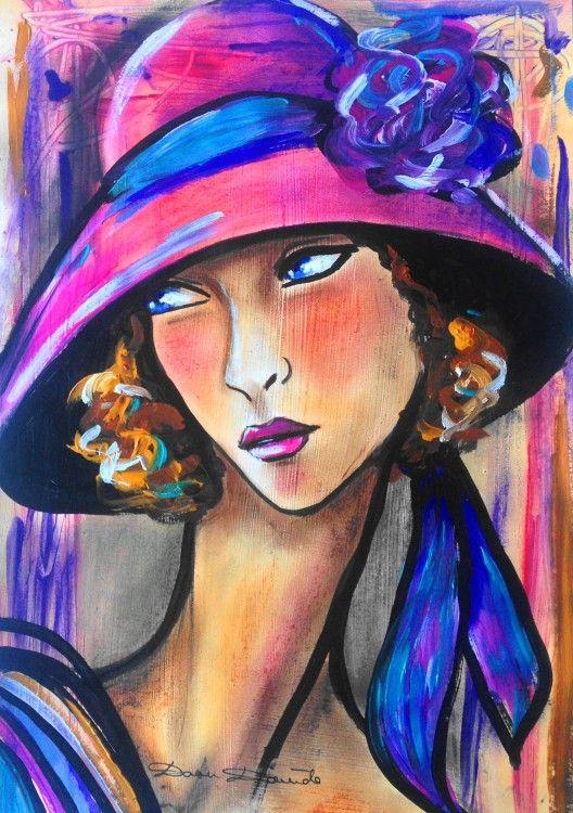 """""""Osons..."""" (Peinture),  29x40 cm par Dam Domido Portrait art déco sur papier, technique mixte. Portrait expressionniste de femme"""