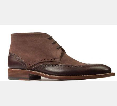 Chukka Boot Pelle/Camoscio Old ,HandMade Suola Cuoio ,Col Fargo/Praline