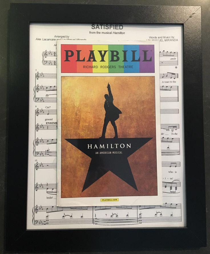 Use sheet music as backing for framed Playbills.