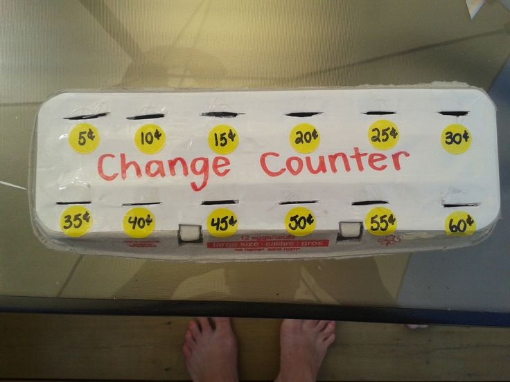 Egg carton, with small slits for students to practice making the right change independently.