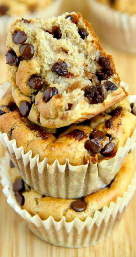 Banana Oat Greek Yogurt Muffins ~ Made without flour or oil