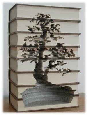 Bonsai Tree Carved Into Old Books, By Kylie Stillman Itu0027s Beautiful, But  Carving Books Makes Me A Little Uncomfortable.