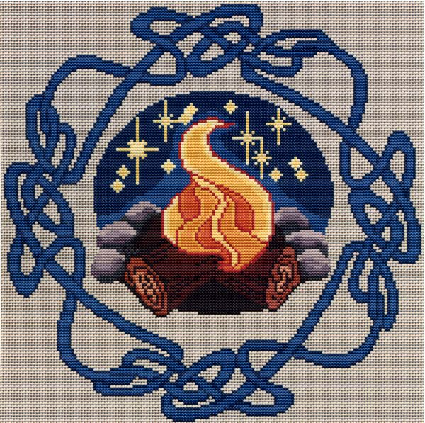 Beltane Bonfire Cross Stitch Pattern - Dancing flames and soft starlight set the stage for a night of mystery and magic. Design measures 148 stitches square. This is a pattern for counted cross stitch. It is not a complete kit. You must provide your own fabric and floss.