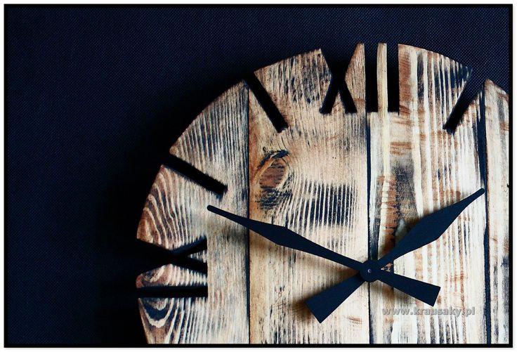 zegar ścienny z desek z drewna diy handmade woodworking rustykalny loft industrial