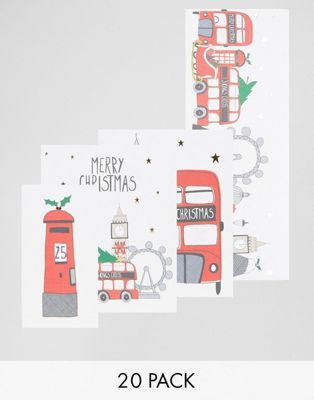 Paperchase London Bus 20pk Christmas Cards
