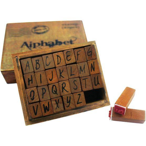 Bo Bunny Kraft Wood Alphabet Stamps Upper Case, , hi-res
