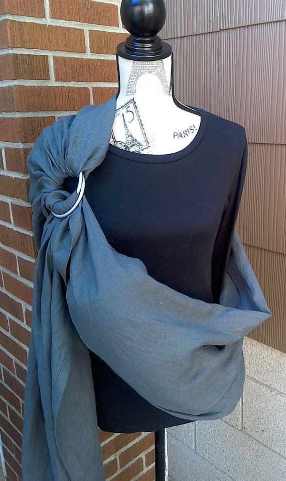 Ring Sling: Graphite Grey Linen. Finest, high-quality natural linen & highest quality rings for years of wear and use. Professionally made.