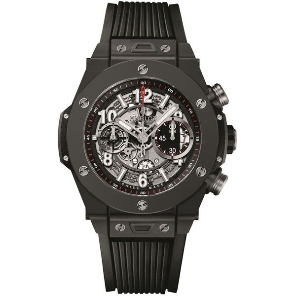Hublot Big Bang Unico 45mm Black Magic Watch (487.209.940 VND) ❤ liked on Polyvore featuring jewelry, watches, dial watches, chronograph watch, hublot, chronograph watches and hublot watches