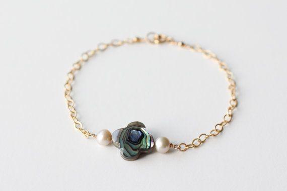Sell bracelet Black mother of pearl bracelet by moemiSugimura