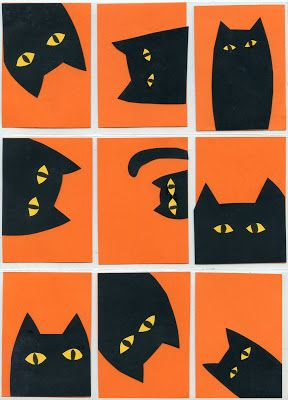 Art Projects for Kids: Peek A Boo Cats. Simple halloween collage made from card stock paper found at craft stores. #ATC #artprojectsforkids #halloween