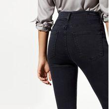 2017 Modaberries mujeres skinny jeans negro de cintura alta subida en la oscuridad(China (Mainland))