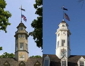 The shade on the Capitol before it was painted (left) and then after. What the color of your house meant in Colonial Williamsburg