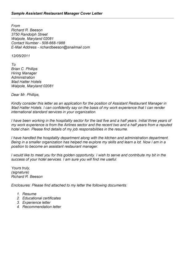 Sle Recommendation Letter For Restaurant Manager Cover