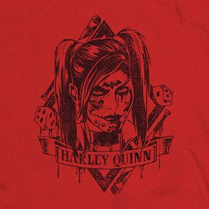 Arkham Harley Quinn Diamond on Red T-Shirt. Design features DC Comics' Harley Quinn with a sinister look over a diamond design on a red background. Available in regular, women's, long sleeve, juniors