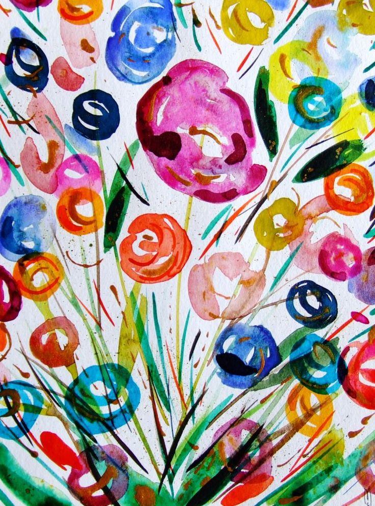 Fleurs Aquarelle Originale Fleurs Peinture Art Contemporain Nature D Cor Rose Orange Nature