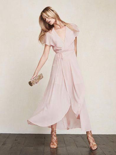 The Harwood Dress is great for summer weddings, brunch, or pretty much any other occasion you can throw at it. It's a full length georgette maxi dress with a plunging neckline, wrap skirt and cape sleeves that go all the way around the back. https://www.thereformation.com/products/harwood-dress-soft-pink?utm_source=pinterest&utm_medium=organic&utm_campaign=PinterestOwnedPins