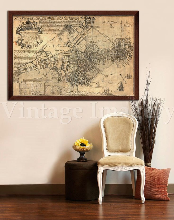 "Old Boston Map 1769 Historic Boston map Antique Boston Map Restoration Hardware Style Map of Boston sizes up to 43"" x 60"" Boston wall art by VintageImageryX on Etsy https://www.etsy.com/listing/228538082/old-boston-map-1769-historic-boston-map"