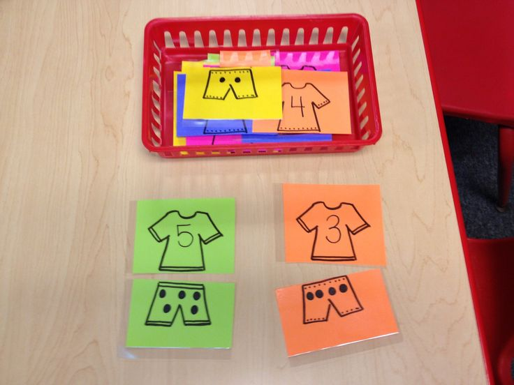Preschool my clothes theme number math activity- we could change the theme but the matching idea is nice