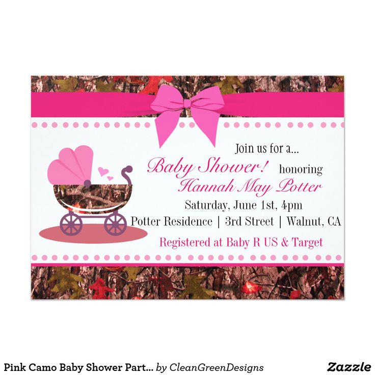 Pink Camo Baby Shower Party Invitation If you want custom colors or assistance in creating your design, feel free to contact me at cleangreendesignszazzle@gmail.com. I look forward to hearing from you!