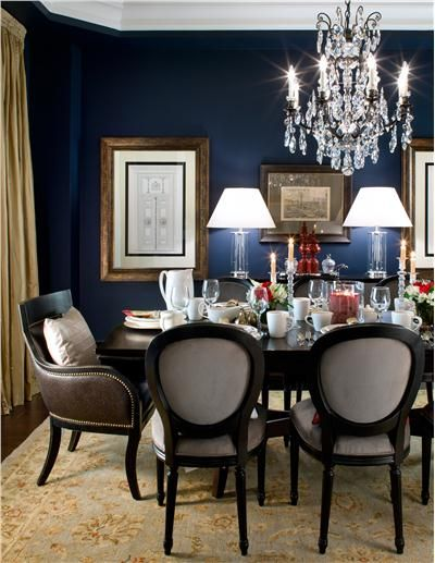 Elegant Transitional Dining Room by Jane Lockhart - Rich navy walls create a dramatic backdrop for this traditional dining area. Classic furniture in neutral colors provides stylish contrast.