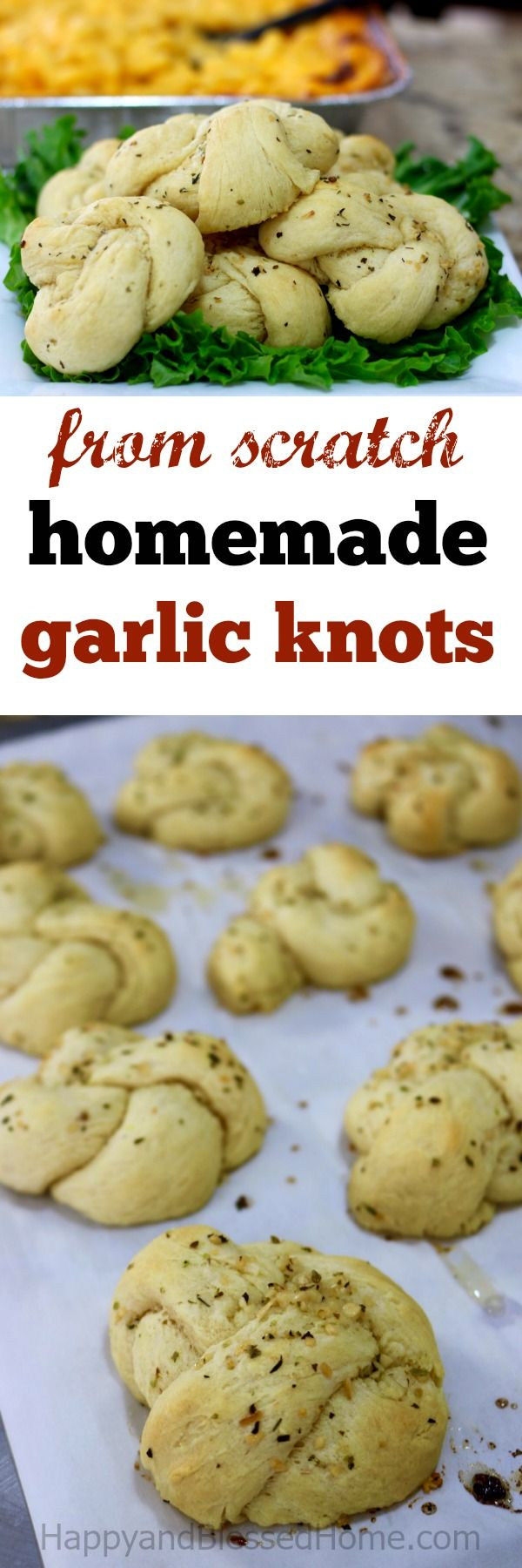 Easy to make homemade garlic knots from scratch - excellent flavor and flaky dough. A bread recipe for a savory crust and wonderful garlic sauce.  My family devoured these! Ad Pair with #StouffersGoodness for a simple family meal. Delicious!