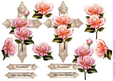 Crosses Pink Roses Sympathy on Craftsuprint designed by Marijke Kok - Beautiful design for the sad days in our life,crosses with pink roses... - Now available for download!